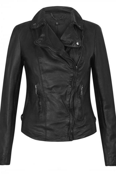 WOMEN LEATHER JACKET, BIKER LEATHER JACKET WOMEN, WOMEN BIKER JACKET