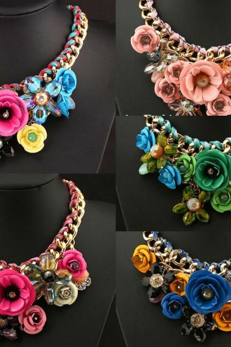 Big Pendants Hot Sale Transparent Big Resin Crystal red blue green pink Flower Vintage Choker Statement Necklace Fashion Jewelry