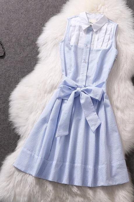 Grid temperament sleeveless dresses GG731G