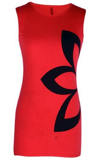Woman Essential Round Neck Sleeveless Sheath Dress - Red