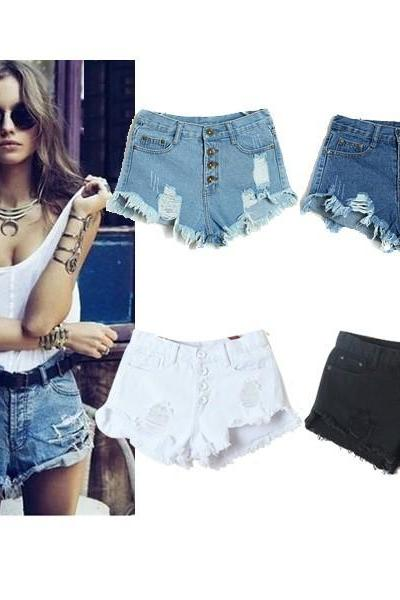 new summer 2014 for Women vintage High waist short jeans feminino Ripped Hole short jeans denim female distress cutoffs shorts