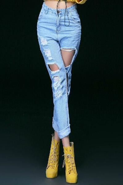 New Fashion Women High Waist Loose Destroyed Ripped Motorcycle Pants Distressed Denim Crop Jeans LJ878