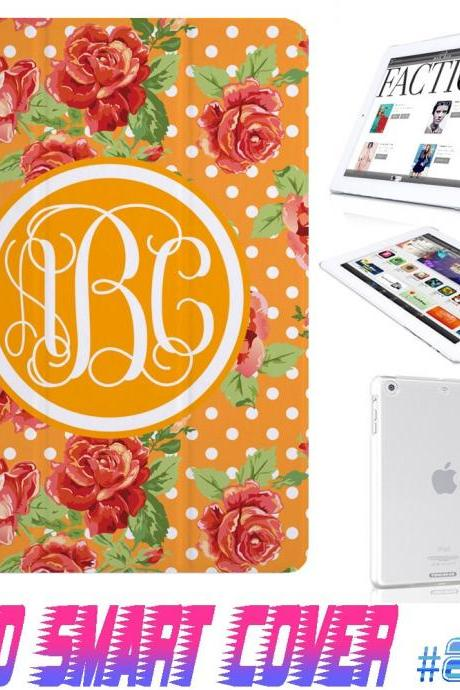 Custom Monogram Flower Floral Print @ IPad Air Smart Cover , IPad Mini Smart Cover , IPad 4 Smart Cover , IPad 3 case , ipad 2 Magnetic Sleep Wake Case #205