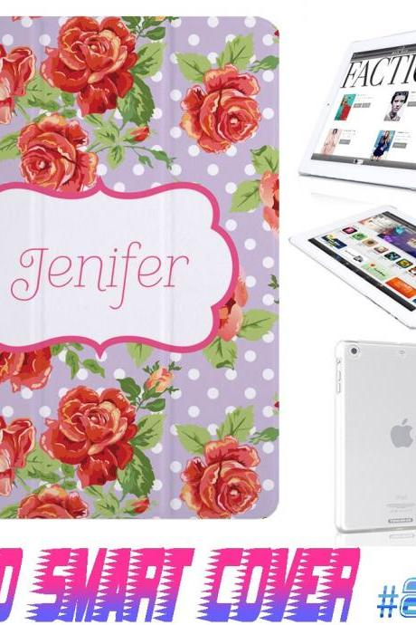 Custom Monogram Flower Floral Print @ IPad Air Smart Cover , IPad Mini Smart Cover , IPad 4 Smart Cover , IPad 3 case , ipad 2 Magnetic Sleep Wake Case #207
