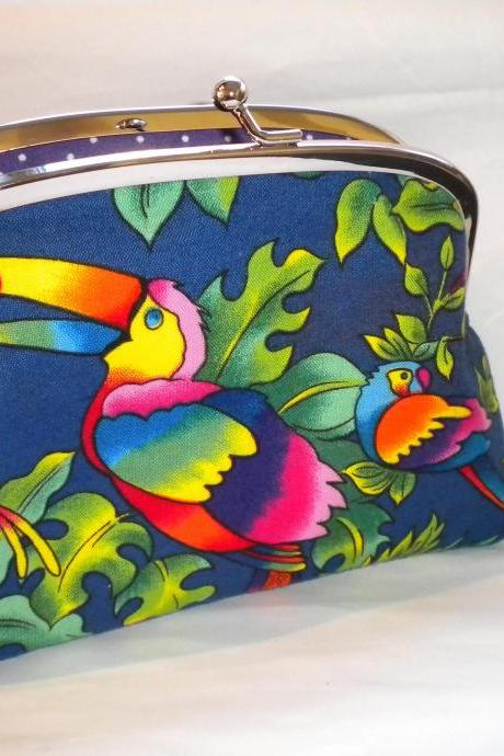 Bright parrot and toucan frame wallet with kiss clasp and 2 compartments- purple polka dot interior