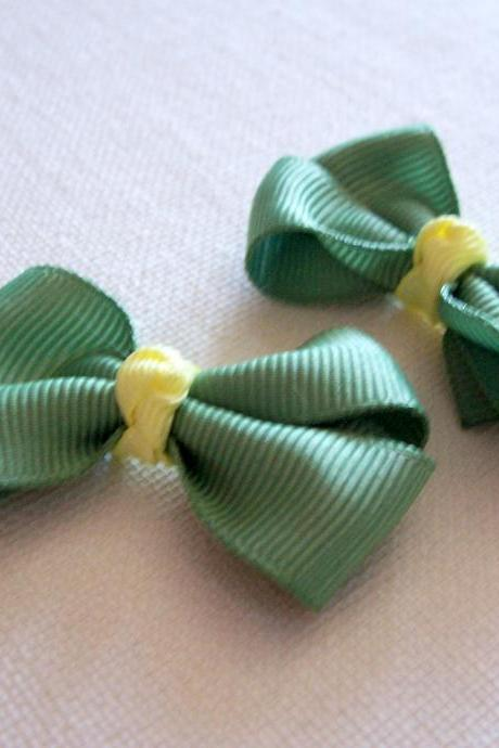 Mini Boutique Bow Pair - Sage Green, Yellow