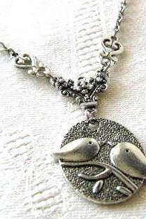 Love birds necklace jewelry antiqued silver simple necklace