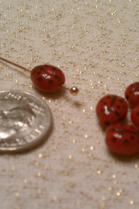 5 Adorable Czech Lady Bug Beads