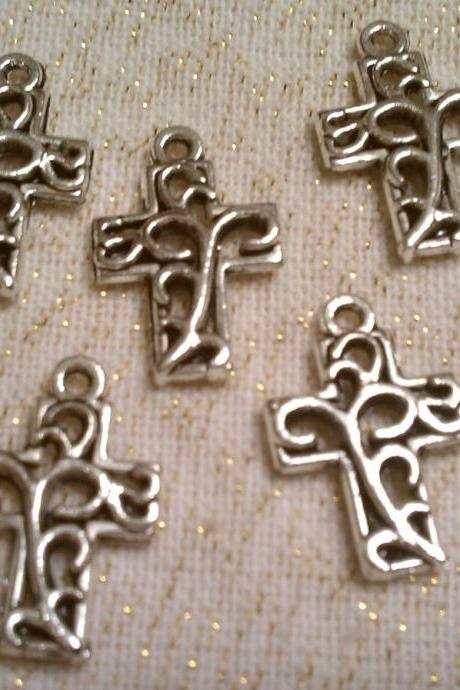 Small Silver Cross Charms