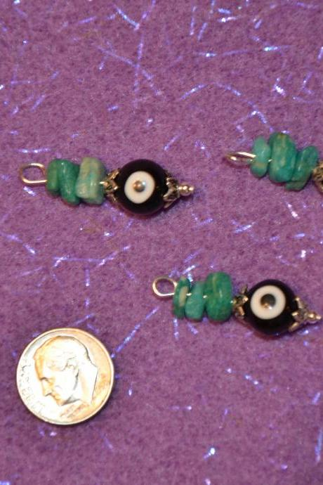 Evil Eye Gambler's Amazonite Gemstone Charms with 2 FREE Earring Hooks