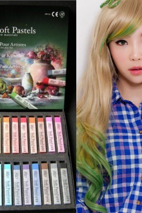 MPV 1 sets/48 pcs CPAM Hair Care&Salon Chalk Hair Color Temporary color Dye Pastel Chalk Hair Chalk