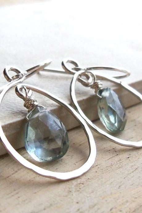 Hammered Sterling Silver Hoops With Teal Mysic Quartz Briolettes
