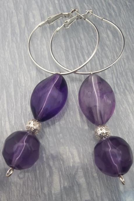 Pretty Purple Beaded Hoop Earrings