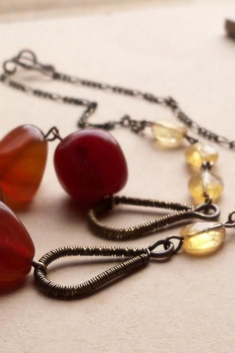 Agate, Antiqued Brass Wire Wraped Artisan Beaded Necklace