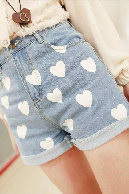 HEART DENIM WAIST SHORTS ABAHCF