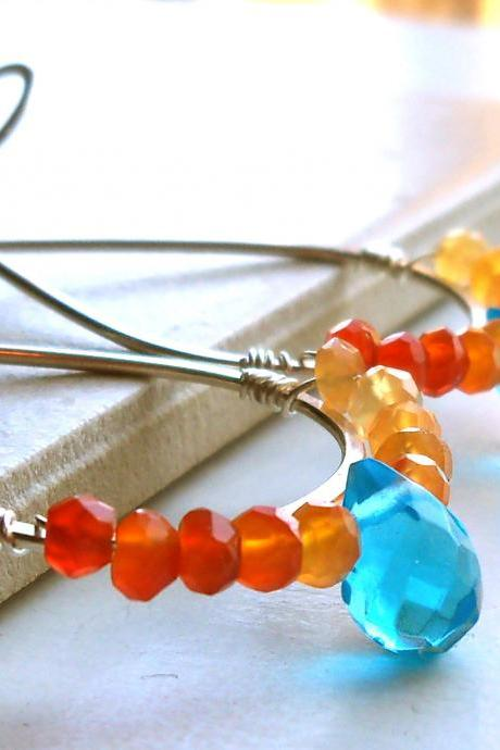 Carnelian, Blue quartz, Artisan Silver Hoop Earrings