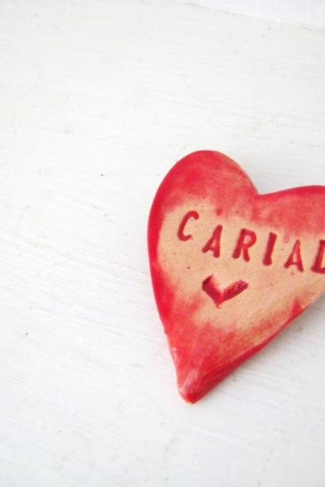 Cariad (Love in Welsh) heart brooch / pin / button / badge. Ceramic. Made in Wales, UK