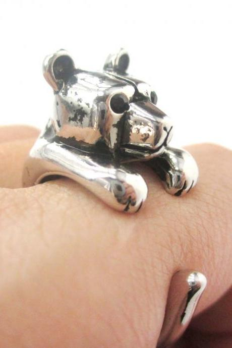 3D Miniature Polar Bear Teddy Animal Wrap Hug Ring in Shiny Silver - US Size 4 to 8.5