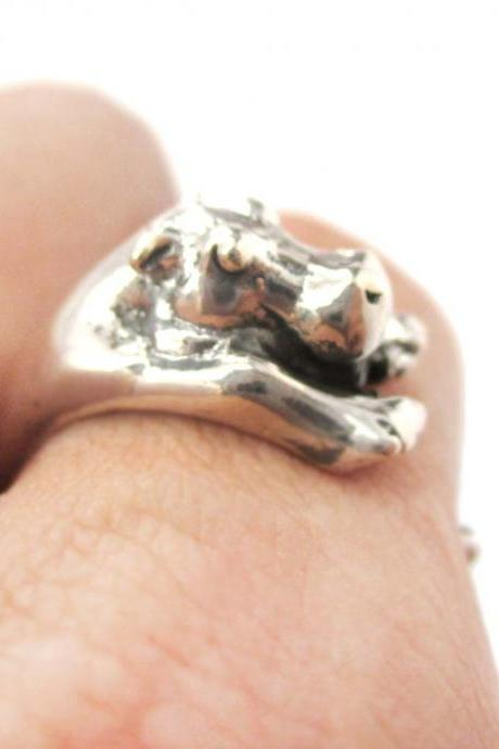 Realistic Hippo Animal Wrap Around Hug Ring in Solid 925 Sterling Silver - US Sizes 4 to 8.5 Available