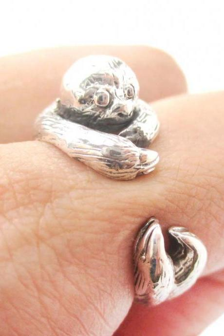 Realistic Sloth Animal Wrap Around Hug Ring In Solid 925 Sterling Silver - US Sizes 4 To 8.5 Available