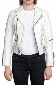 WOMEN'S LEATHER JACKET, WHITE COLOR JACKET WOMEN, BELTED LEATHER JACKET