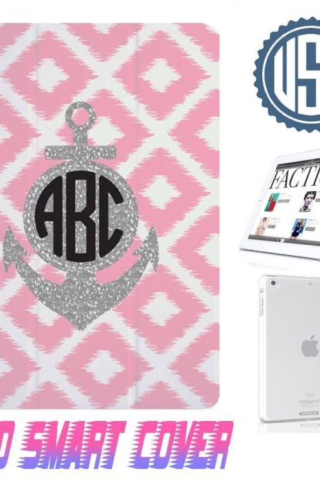 Personalize Monogram Anchor Light Pink Diamond Print @ IPad Air Smart Cover , IPad Mini Smart Cover , IPad 4 Smart Cover , IPad 3 case , ipad 2 Magnetic Sleep Wake Case 300