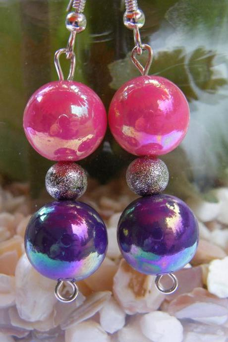 Pretty as a Princess Pink & Purple Earrings