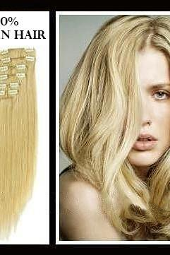20 inches (50.8 cm) 7 Piece High Quality Remy Clip In 100% Real Human Hair Extensions Medium Blonde