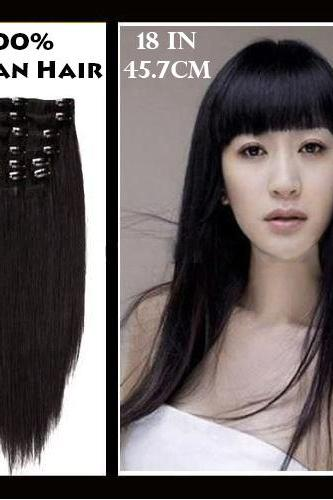 18 inches (45.7 cm) 7 Piece High Quality Remy Clip In 100% Real Human Hair Extensions Natural Black