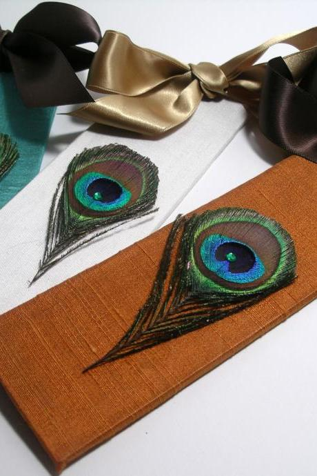 Handmade Wedding Bookmarker Favors - Peacock Theme (custom colors available)