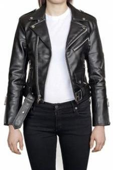 WOMEN'S LEATHER JACKET, BLACK COLOR JACKET WOMEN, BELTED LEATHER JACKET