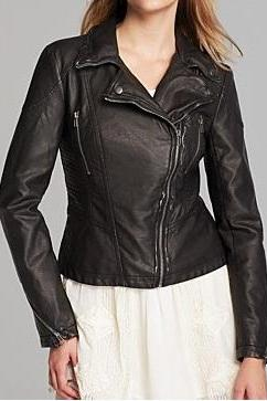 WOMEN LEATHER JACKET, BLACK COLOR JACKET, WOMENS BIKER LEATHER JACKET
