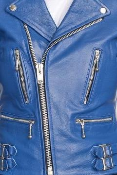 WOMEN'S LEATHER JACKET, BLUE COLOR JACKET WOMEN, BELTED LEATHER JACKET