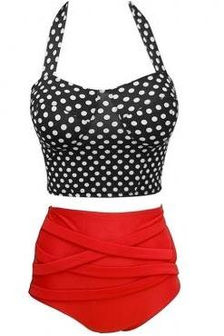 Vintage Sleeveless High Waist Dot Bikinis