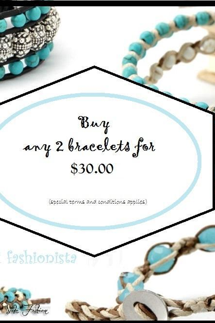 Choose any 2 Single Turquoise Beaded Wrap Bracelets for 25.00 - Artisan Boho Jewelry