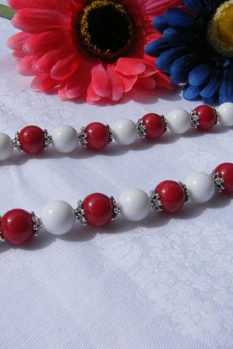 Red & White Mountain Jade Necklace, 17' Length