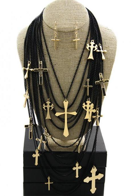 Gold and Black Cross Charms Necklace Set