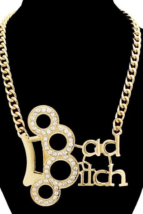 Gold BAD BITCH Crystal Knuckle Ring Statement Necklace Chain