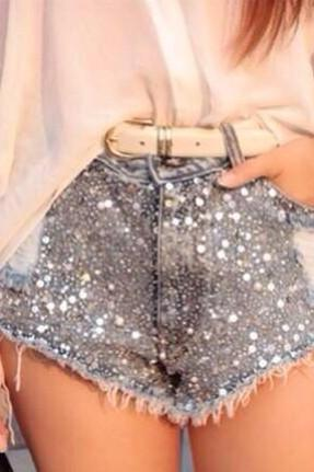 Hand-Beaded Denim Shorts