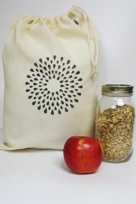 Geometric Hand Printed Produce Bag