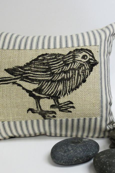 Grey Ticking Stripe Pillow with Sparrow Block Print Pillow