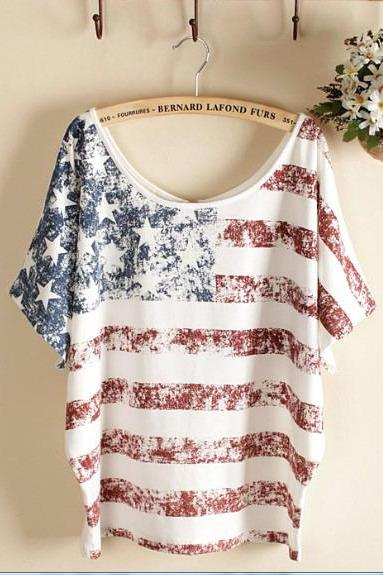 White Vintage Old American Flag Printed Short-Sleeve T-Shirt