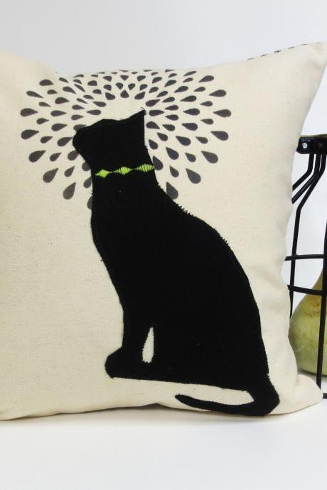 Hand Printed Pillow Cover with Felt Cat Applique