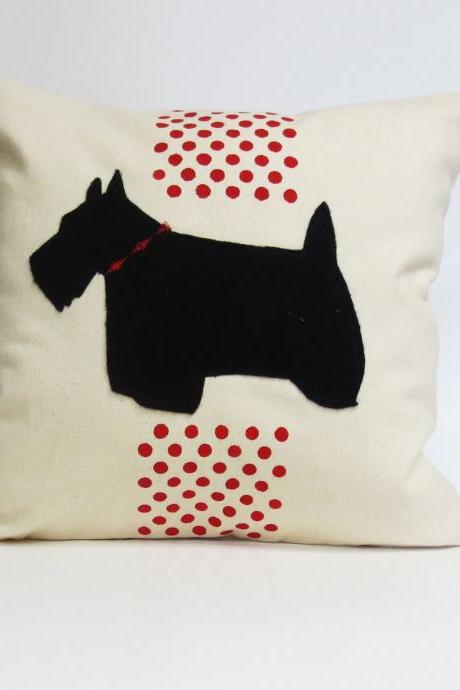 Hand Printed Polka Dot Pillow Cover with Scottie Felt Applique