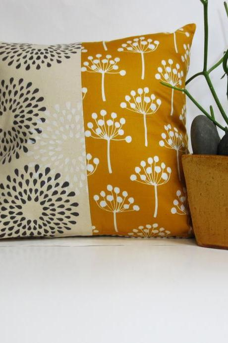 Mustard Yellow, Grey and White Hand Printed Pillow