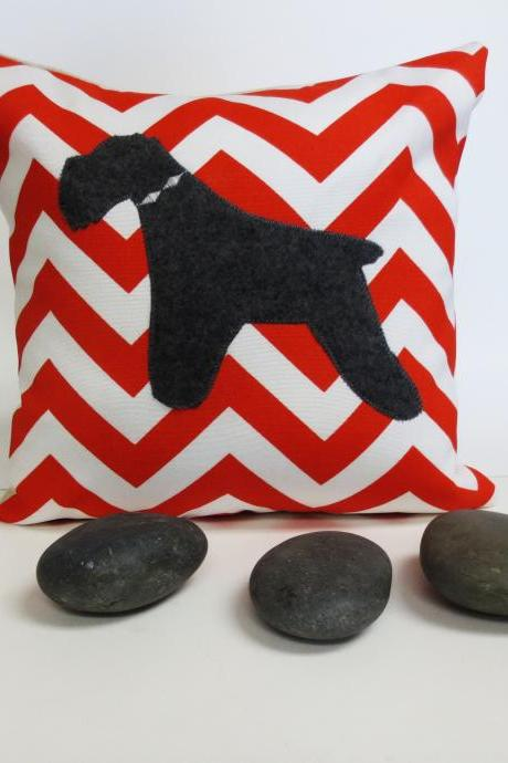 Decorative Orange and White Chevron Pillow with Grey Schnauzer Felt Applique