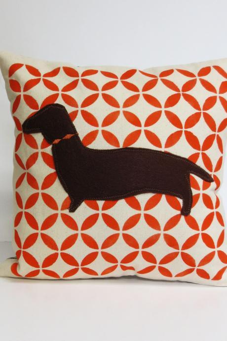 Hand Printed Pillow Cover with Felt Dachshund Applique