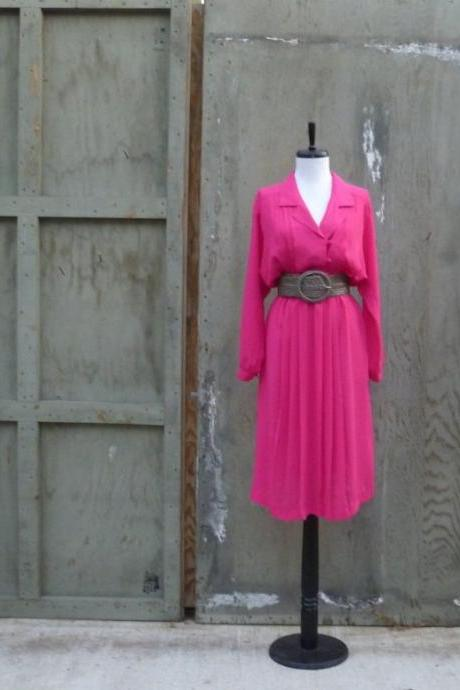1980s Dress Fuschia Long Sleeve Collared Midi