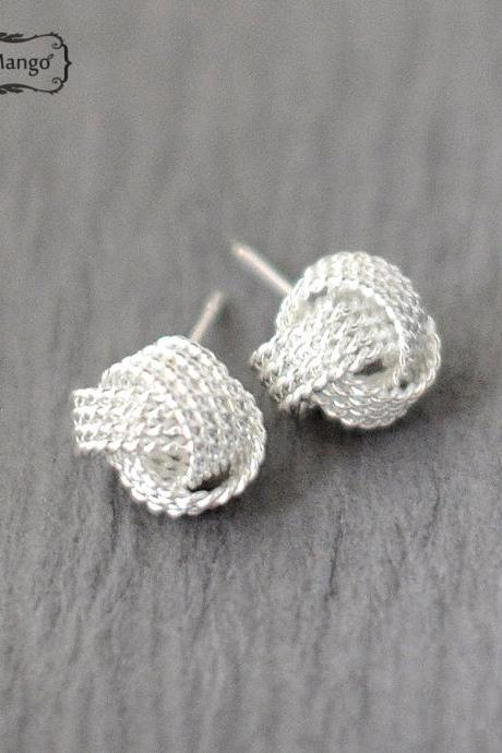 -FREE SHIP- Silver Knot stud earrings