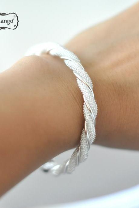 Free ship twisted bangle bracelet, Twisted Web Silvery Bangle,
